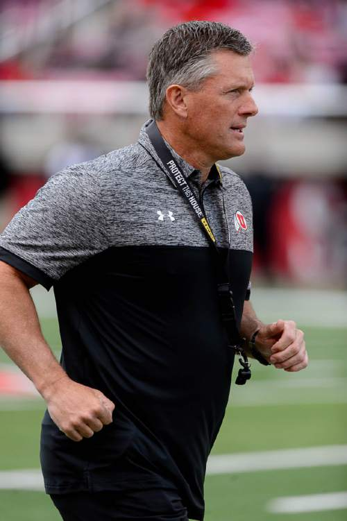 Trent Nelson  |  The Salt Lake Tribune Coach Kyle Whittingham at the University of Utah's Red-White spring football game at Rice-Eccles Stadium in Salt Lake City, Saturday April 23, 2016.