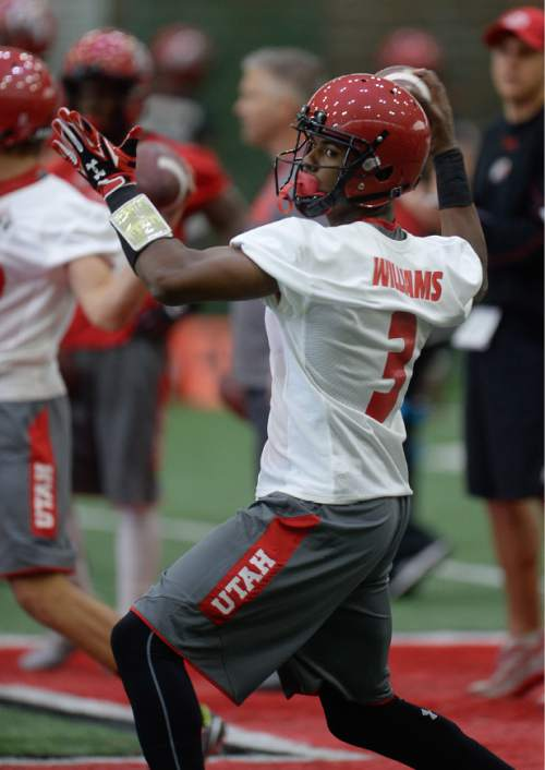 Francisco Kjolseth | The Salt Lake Tribune Quarter back Troy Williams finds his target as the University of Utah football team kicks off opening day of spring practice on Tuesday, March 22, 2016.