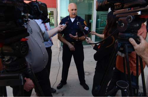Francisco Kjolseth   The Salt Lake Tribune Salt Lake City Acting Police Chief Mike Brown speaks with the media following a press conference to discuss new initiatives to ensure public safety in the Rio Grande District.