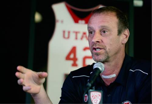 Scott Sommerdorf      The Salt Lake Tribune   Utah head coach Larry Krystkowiak spoke about the improvements that Jakob Poeltl made in his game during his second year at Utah. Jakob Poeltl announced that he's decided to enter the NBA Draft, Wednesday, April 13, 2016.