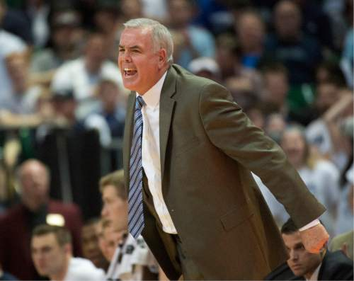Rick Egan     The Salt Lake Tribune  Brigham Young Cougars head coach Dave Rose yells instructions to his team, in the West Coast Conference Semifinals, at the Orleans Arena in Las Vegas, Saturday, March 7, 2016.