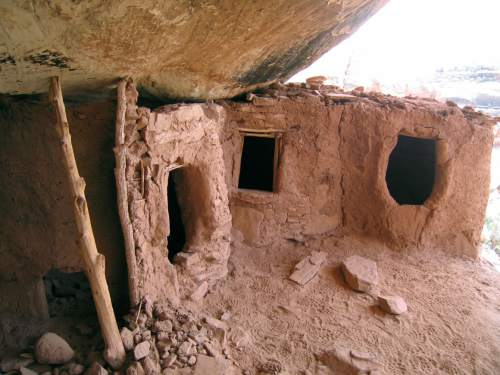 Al Hartmann  |  The Salt Lake Tribune  Anasazi ruin under a sandstone alcove in a canyon on Cedar Mesa in San Juan County.  The area is included for a proposed Bears Ears National Conservation Area.