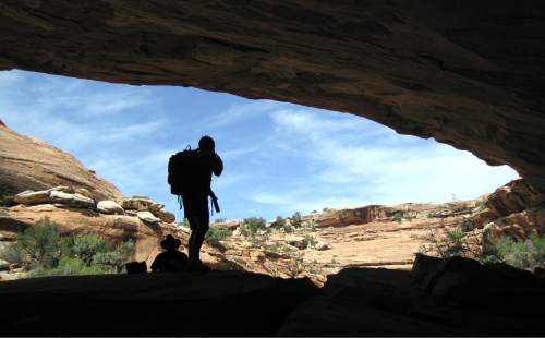 Al Hartmann  |  The Salt Lake Tribune  Backpackers take shade under a sandstone alcove in a canyon on Cedar Mesa in San Juan County.  The area is included for a proposed Bears Ears National Conservation Area.