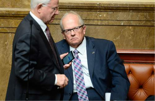 Scott Sommerdorf   |  The Salt Lake Tribune   Rep. Mike Noel, R-Kanab, sits on a bench in the Utah House on Thursday, the last day of the legislative session, just after his altercation with Rep. Brian King, D-Salt Lake City.