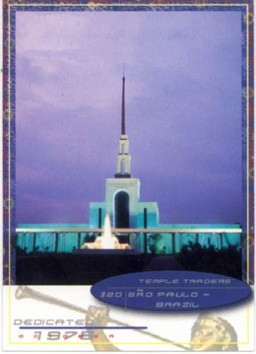 Sao Paulo LDS Temple on a temple trading card.