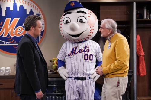 "Cliff Lipson  |  CBS  Matthew Perry, Mr. Met and Garry Marshall on ""The Odd Couple."""