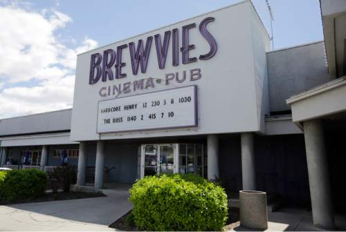 """Brewvies Cinema Pub is  viewed Monday, April 18, 2016, in Salt Lake City. Utah alcohol bosses have filed a complaint and will consider revoking the liquor license of a movie theater it says violated a state obscenity law by serving drinks while screening """"Deadpool,"""" which features simulated sex scenes. The theater said the law is unconstitutional and has threatened to challenge it in court if the complaint is not dropped. (AP Photo/Rick Bowmer)"""
