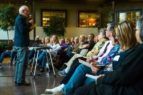 Chris Detrick  |  The Salt Lake Tribune Stephen Trimble speaks during The Salt Lake Tribune's Pulitzer Prize Centennial Party at Weller Book Works in Trolley Square Thursday April 28, 2016.