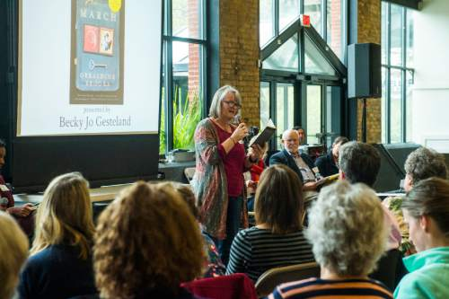 Chris Detrick  |  The Salt Lake Tribune Becky Jo Gesteland speaks during The Salt Lake Tribune's Pulitzer Prize Centennial Party at Weller Book Works in Trolley Square Thursday April 28, 2016.