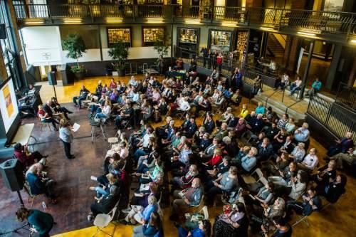 Chris Detrick  |  The Salt Lake Tribune Ellen Fagg Weist speaks during The Salt Lake Tribune's Pulitzer Prize Centennial Party at Weller Book Works in Trolley Square Thursday April 28, 2016.