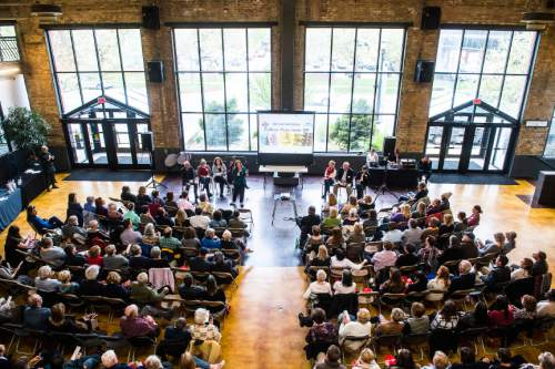 Chris Detrick  |  The Salt Lake Tribune Jennifer Napier-Pearce speaks during The Salt Lake Tribune's Pulitzer Prize Centennial Party at Weller Book Works in Trolley Square Thursday April 28, 2016.