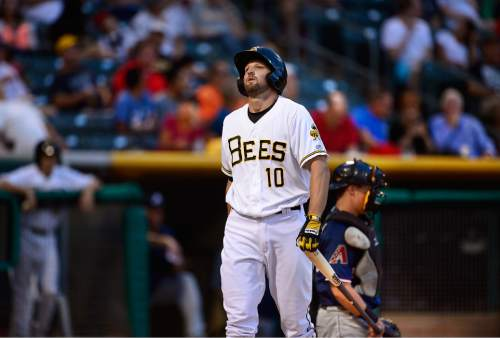 Scott Sommerdorf   |  The Salt Lake Tribune Bees third baseman Kyle Kubitza reacts after he struck out against the Reno Aces, Friday, July 17, 2015. Kubitza later hit a two-run home run to give the Bees a 5-2 lead in the third inning. The Bees won the game 6-5 to improve their record to 36-57 - still the worst record in the PCL.