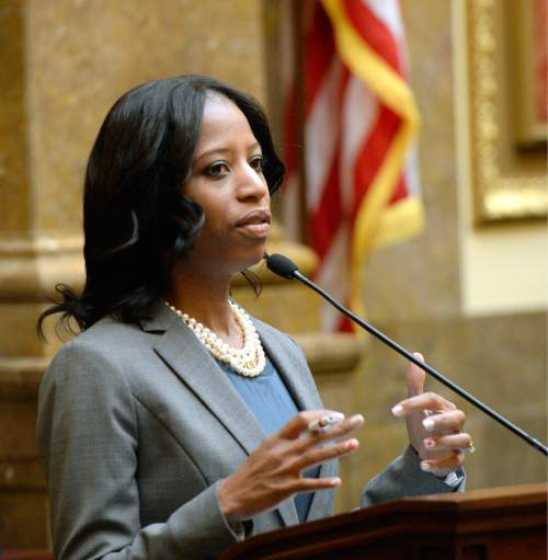 Al Hartmann  |  The Salt Lake Tribune Congresswoman Mia Love speaks before the House of Representatives at the Utah Capitol Monday Feb. 22.