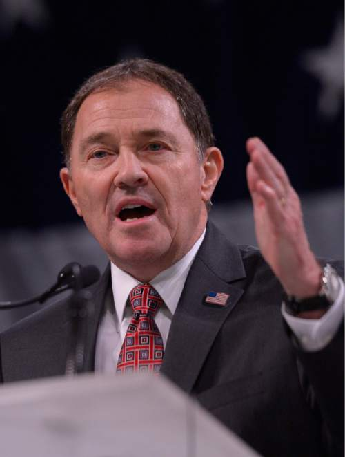 Leah Hogsten  |  Tribune file photo Gov. Gary Herbert delivers his re-election speech, backed by his family and wife Jeanette Herbert at the Utah Republican Convention, Saturday, April 23, 2016, at Salt Palace Convention Center. Some lobbyists say a campaign meeting recently with donors went too far in suggesting checks would buy quality face time with the governor.
