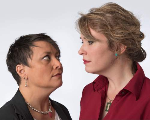 """Actors Tamara Howell and Andra Harbold play quick-talking academics in Pygmalion Productions Theatre Company's premiere of L.L. West's """"Remington & Weasel."""" (Courtesy)"""