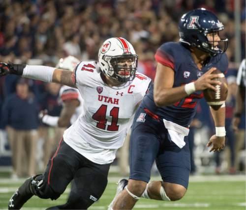 Rick Egan  |  The Salt Lake Tribune  Utah Utes linebacker Jared Norris (41) chases down Arizona Wildcats quarterback Anu Solomon (12) in PAC-12 action against the Arizona Wildcats, in Tucson, Saturday, November 14, 2015.