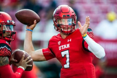 Chris Detrick  |  The Salt Lake Tribune Utah Utes quarterback Travis Wilson (7) before the game at Rice-Eccles Stadium Thursday September 3, 2015.