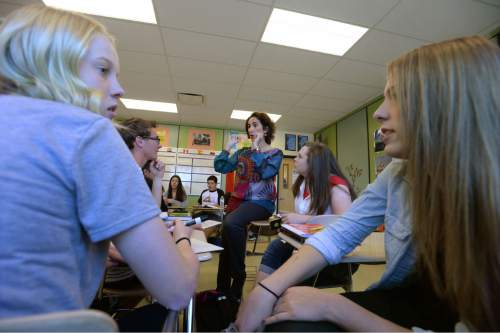 Steve Griffin  |  The Salt Lake Tribune   Students talk to each other in Spanish as they Indgrid Campos' AP Spanish class at Layton High School, in Layton, Utah Thursday, April 7, 2016. The first cohort of students who enrolled in Utah's dual immersion programs are now reaching the age where they can take high school AP language courses for college credit.