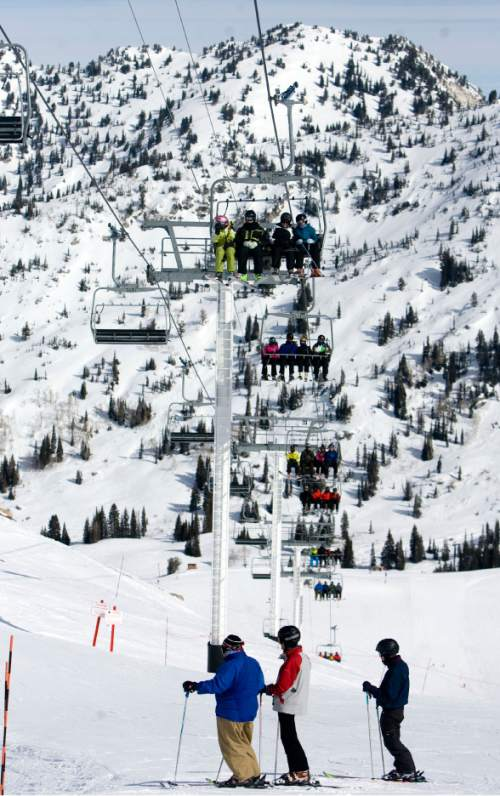 |  Tribune File Photo  People ski down the Little Dipper trail as people ride the Sugarloaf lift at Atla Ski Area on Presidents Day on February 18, 2012.