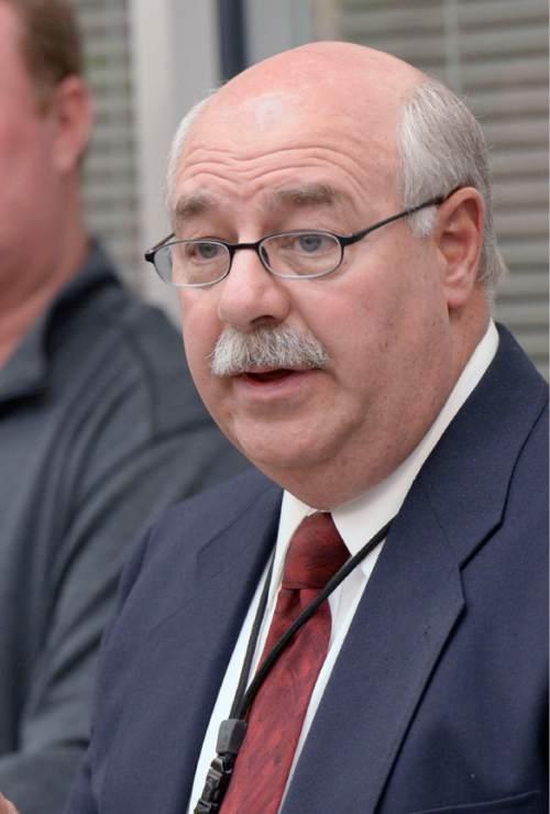 Al Hartmann     The Salt Lake Tribune  Utah County Sheriff Jim Tracy at a 2014 press conference.