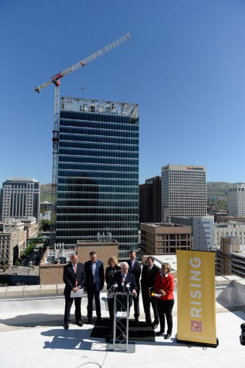 Francisco Kjolseth | The Salt Lake Tribune  Local leaders give an update on the ongoing Downtown Rising projects from the rooftop of the Walker Center on Tuesday, May 3, 2016, as the initiative celebrates ten years.