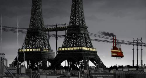 "A double Eiffel Tower is one of the sights in a steampunk alternate-history Paris in the animated thriller ""April and the Extraordinary World."" Courtesy GKIDS"