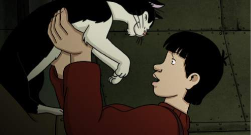 "April discovers her talking cat Darwin has regained his health in the animated thriller ""April and the Extraordinary World."" Courtesy GKIDS"