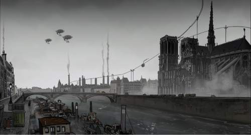"A grimy steampunk Paris, thanks to coal and charcoal burning, is highlighted in the animated thriller ""April and the Extraordinary World."" Courtesy GKIDS"