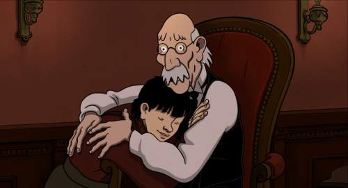 "April is reunited with her grandfather, Pops, in the animated thriller ""April and the Extraordinary World."" Courtesy GKIDS"