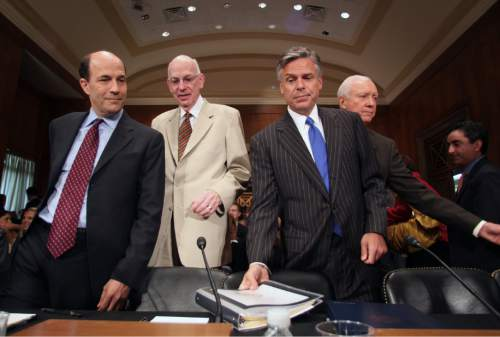 Lauren Victoria Burke  |  The Associated Press  China Ambassador-designate Jon Huntsman Jr, second from right, and Japan Ambassador-designate John Roos, left, are accompanied by Utah Sens. Bob Bennett and Sen. Orrin Hatch Thursday as they arrive on Capitol Hill to testify before the Senate Foreign Relations Committee.