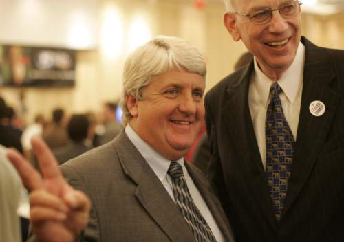 Trent Nelson  |  The Salt Lake Tribune  Utah Congressman Rob Bishop (left) celebrates victory (next to Senator Bob Bennett) at Salt Lake City's Hilton Hotel on November 2, 2004.