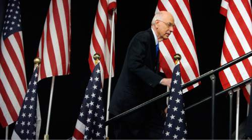 Steve Griffin  |  The Salt Lake Tribune  Sen. Bob Bennett  climbs to the podium during the Utah Republican Convention on Saturday at the Calvin L. Rampton Salt Palace Convention Center in Salt Lake City.