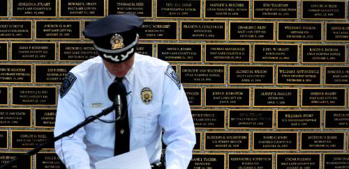 Steve Griffin / The Salt Lake Tribune  Salt Lake County Sheriff Jim Winder speaks at the Utah Law Enforcement Memorial, West lawn in Salt Lake CityThursday May 5, 2016 as the Utah law enforcement community held its annual memorial to police officers killed in the line of duty during the previous year.