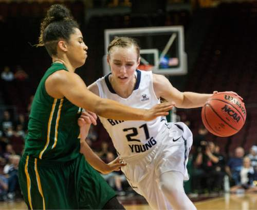 Rick Egan  |  The Salt Lake Tribune  San Francisco Lady Dons guard Zhane Dikes (1) guards Brigham Young Cougars guard Lexi Eaton Rydalch (21) in the final minuets of the game, in the West Coast Conference Championship game, at the Orleans Arena in Las Vegas, Tuesday, March 8, 2016.