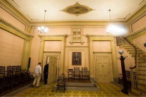 Steve Griffin / The Salt Lake Tribune  The Colonial Room in the Salt Lake Masonic Temple in  Salt Lake City on Tuesday, May 3, 2016. The historic  temple will open its doors to the public on Saturday, May 7, for guided tours.