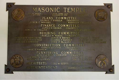 Steve Griffin / The Salt Lake Tribune  Metal construction plaque in the Salt Lake Masonic Temple in  Salt Lake City on Tuesday, May 3, 2016. The historic  temple will open its doors to the public on Saturday, May 7, for guided tours.