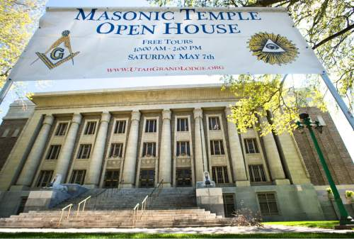 Steve Griffin / The Salt Lake Tribune  The Salt Lake Masonic Temple in  Salt Lake City on Tuesday, May 3, 2016. The historic  temple will open its doors to the public on Saturday, May 7, for guided tours.
