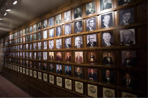 Steve Griffin / The Salt Lake Tribune  Photos of all the past Grand Masters in the Salt Lake Masonic Temple in  Salt Lake City on Tuesday, May 3, 2016. The historic  temple will open its doors to the public on Saturday, May 7, for guided tours.