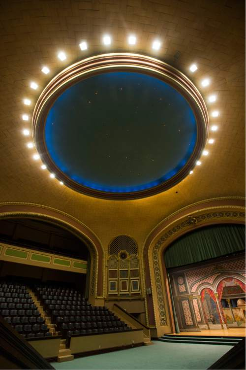 Steve Griffin / The Salt Lake Tribune  The ëatmosphericí domed ceiling in the 900 seat auditorium in the Salt Lake Masonic Temple in  Salt Lake City on Tuesday, May 3, 2016. The historic  temple will open its doors to the public on Saturday, May 7, for guided tours.