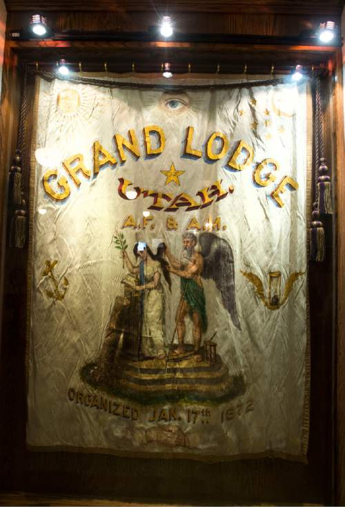 Steve Griffin / The Salt Lake Tribune  The original banner from 1872 in the Salt Lake Masonic Temple in  Salt Lake City on Tuesday, May 3, 2016. The historic  temple will open its doors to the public on Saturday, May 7, for guided tours.