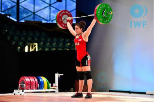 Courtesy  |  USA Weightlifting  Utah's Jessie Bradley, shown here at last year's Junior World Championships, is one of 15 female lifters competing in Sunday's Olympic Team Trials at the Salt Palace Convention Center.