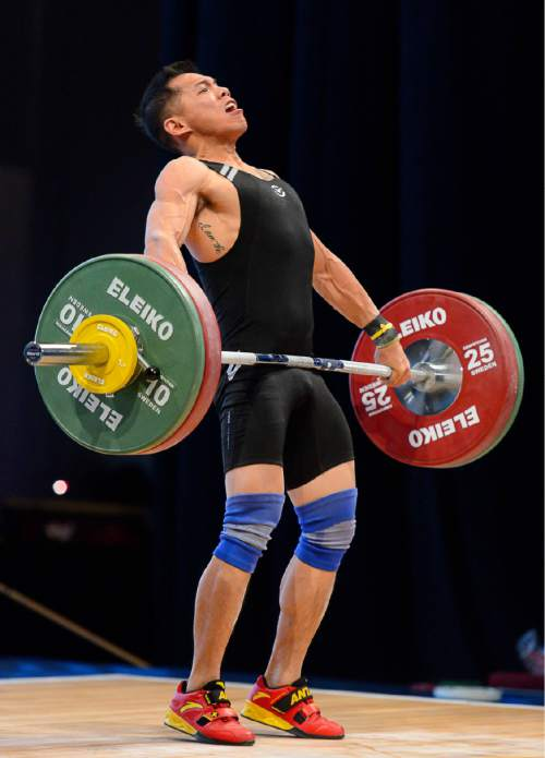 Trent Nelson  |  The Salt Lake Tribune Vu Truong lifts on day 1 of 2016 USA Weightlifting National Championships at the Salt Palace in Salt Lake City, Friday May 6, 2016.
