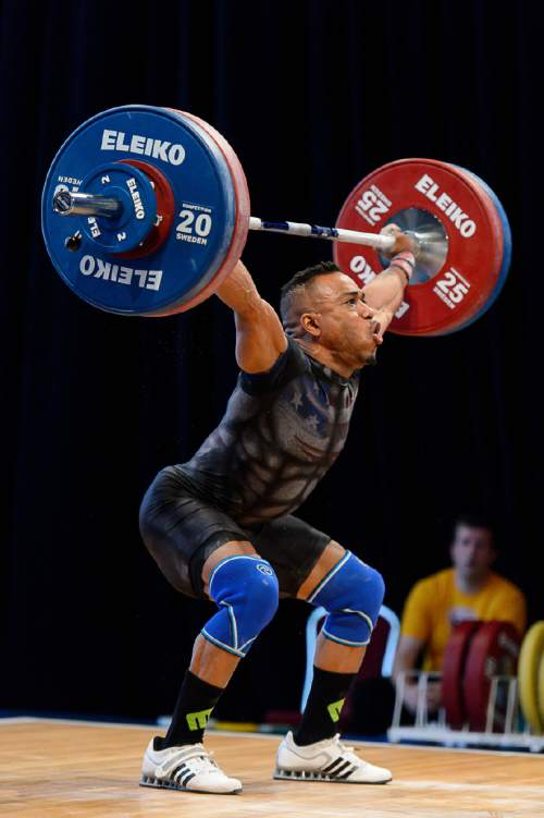 Trent Nelson  |  The Salt Lake Tribune Derrick Johnson lifts double his body weight on day 1 of 2016 USA Weightlifting National Championships at the Salt Palace in Salt Lake City, Friday May 6, 2016.