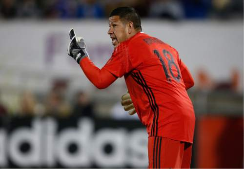 Real Salt Lake goalkeeper Nick Rimando directs his teammates while facing the Colorado Rapids in the second half of an MLS soccer game in Commerce City, Colo., late Saturday, May 7, 2016. The Rapids won 1-0. (AP Photo/David Zalubowski)
