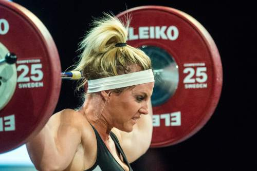 Chris Detrick  |  The Salt Lake Tribune Brittany Riesenberg attempts to lift 80 kg during the USA Weightlifting National Championships at the Calvin L. Rampton Salt Palace Convention Center Saturday May 7, 2016.