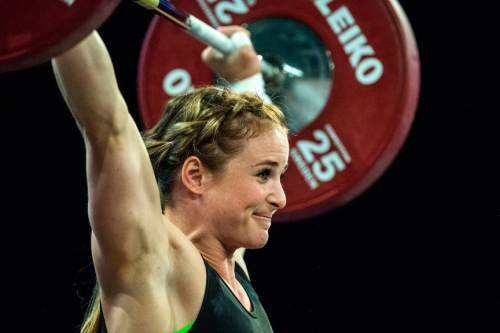 Chris Detrick  |  The Salt Lake Tribune Michaela North lifts 83 kg during the USA Weightlifting National Championships at the Calvin L. Rampton Salt Palace Convention Center Saturday May 7, 2016.