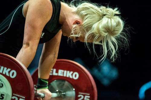 Chris Detrick  |  The Salt Lake Tribune Brielle Atkin attempts to lift 80 kg during the USA Weightlifting National Championships at the Calvin L. Rampton Salt Palace Convention Center Saturday May 7, 2016.