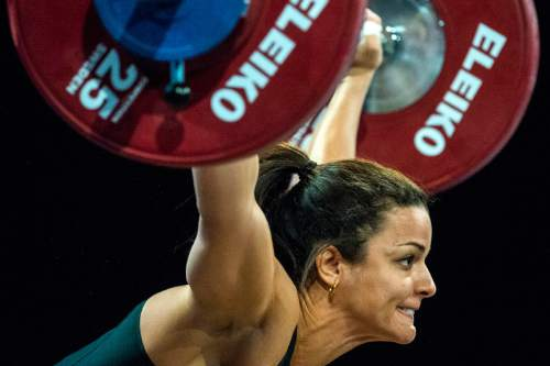 Chris Detrick  |  The Salt Lake Tribune Mayra Brandt attempts to lift 79 kg during the USA Weightlifting National Championships at the Calvin L. Rampton Salt Palace Convention Center Saturday May 7, 2016.