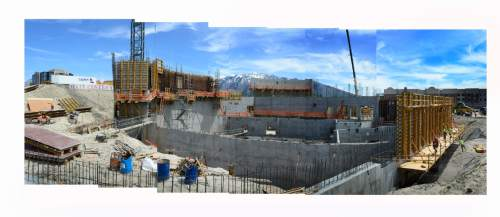 Scott Sommerdorf   |  The Salt Lake Tribune   A panorama built from six photos showing the construction site of the new Hale Center theater at the mid-construction point of the new 130,000 square-feet building which includes a smaller proscenium thrust (horseshoe-shaped) stage, and on the one-of-a-kind center stage in the theater-in-the-round, Wednesday, May 4, 2016.