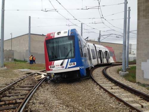 Courtesy of Salt Lake City Fire Department A TRAX train derailed near 2100 South and 200 West on Sunday May 8.